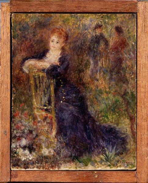 Jeune femme assise dans un jardin_0