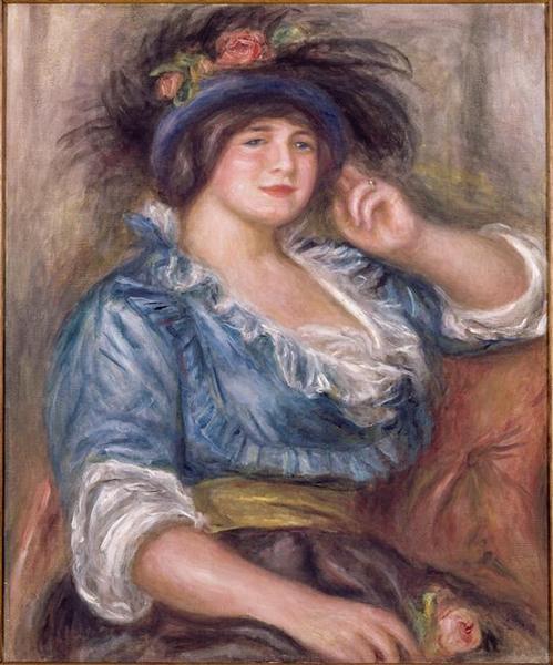 Jeune femme à la rose. Femme en bleu_0
