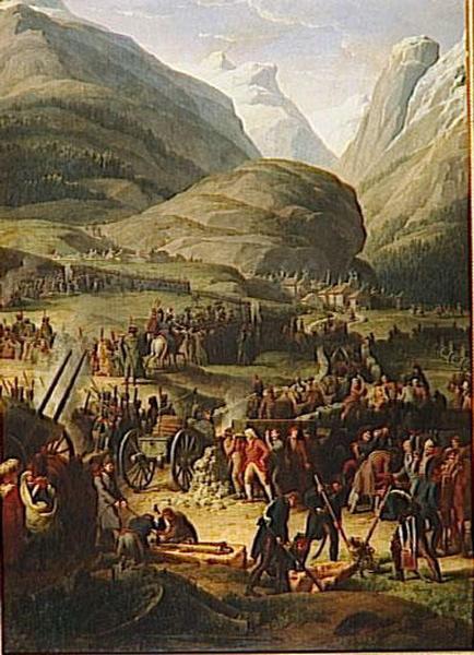 L'ARMEE FRANCAISE TRAVERSE LE GRAND SAINT-BERNARD AU BOURG SAINT-PIERRE.20 MAI 1800_0