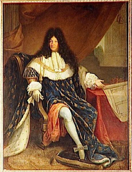LOUIS XIV TENANT LE PLAN DE LA MAISON ROYALE DE SAINT CYR_0
