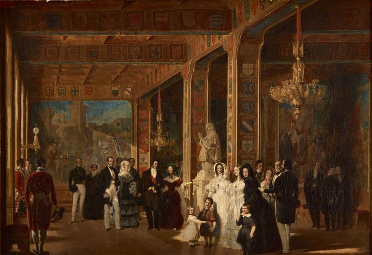 LOUIS-PHILIPPE, LA REINE, LE ROI LEOPOLD 1ER ET LA REINE DES BELGES, VISITANT LA GRANDE SALLE DES CROISADES. JUILLET 1844_0