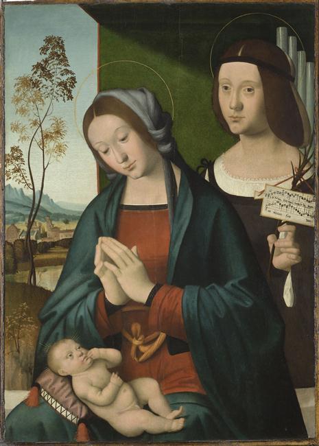 LA VIERGE, L'ENFANT JESUS ET SAINTE CECILE_0