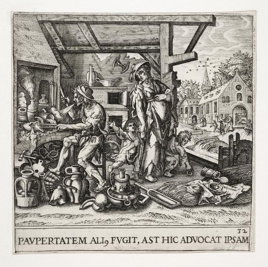 Emblemata saecularia (planche 32) ; PAVPERTATEM ALI. FUGIT, AST HIC ADVOCAT IPSAM_0