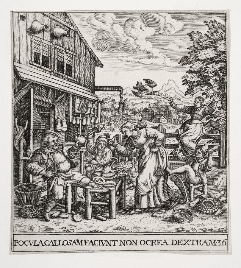 Emblemata saecularia (planche 36) ; POCULA CALLOSAM FACIUNT NON OCREA DEXTRAM_0