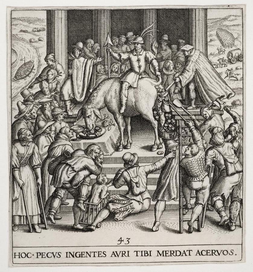 Emblemata saecularia (planche 43) ; HOC PECUS INGENTES AURI TIBI MERDAT ACERDOS