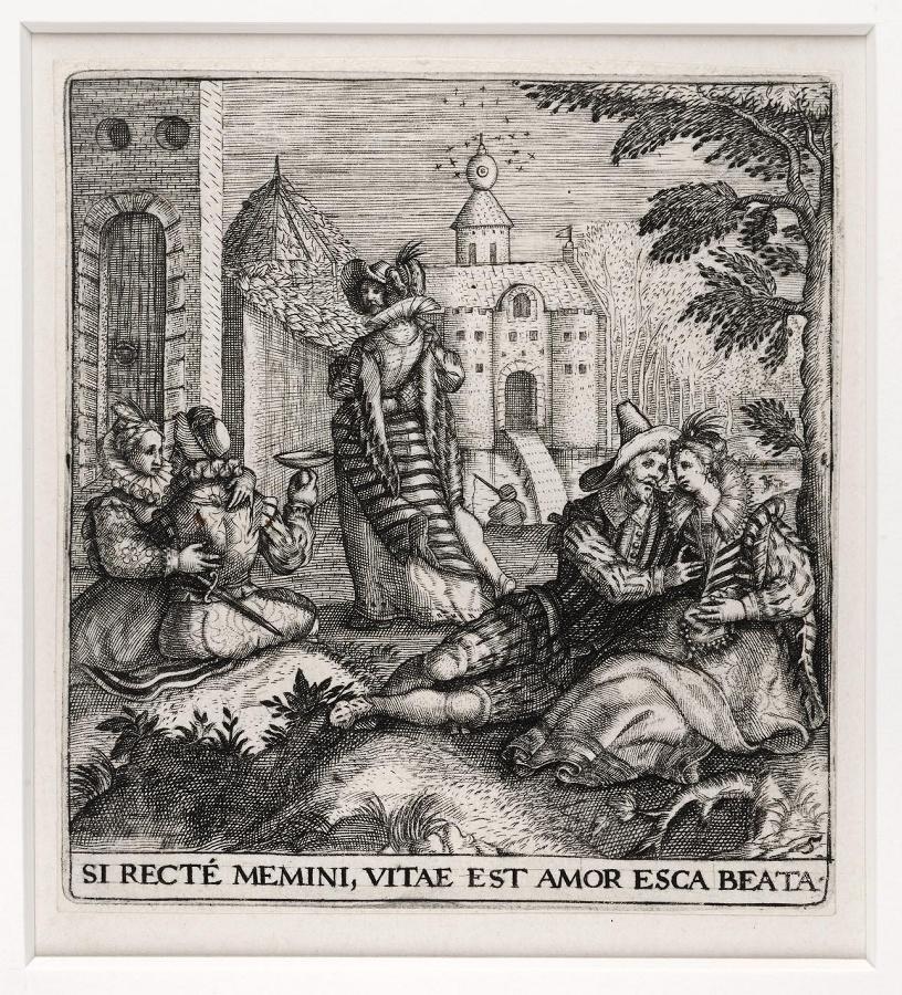 Emblemata saecularia (planche 5) ; SI RECTE MEMINI, VITAE EST AMOR ESCA BEATA