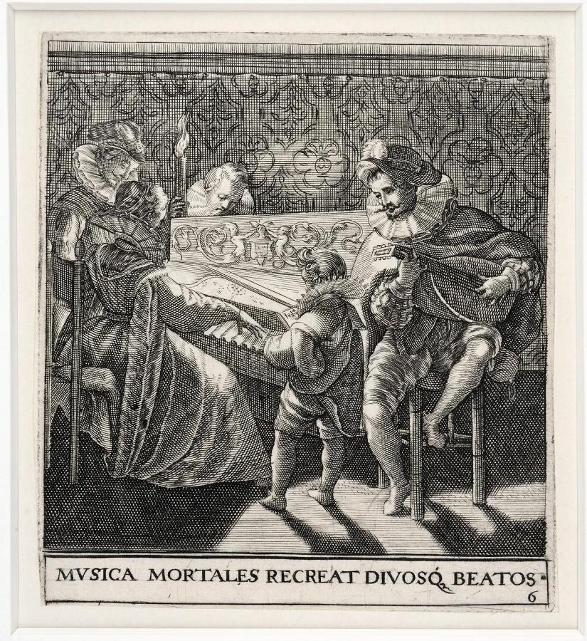 Emblemata saecularia (planche 6) ; MVSICA MORTALES RECREAT DIVOSQ BEATOS_0