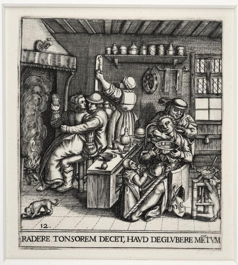 Emblemata saecularia (planche 12) ; RADERE TONSOREM DECET, HAUD DEGLUBERE METUM (planche 12)_0