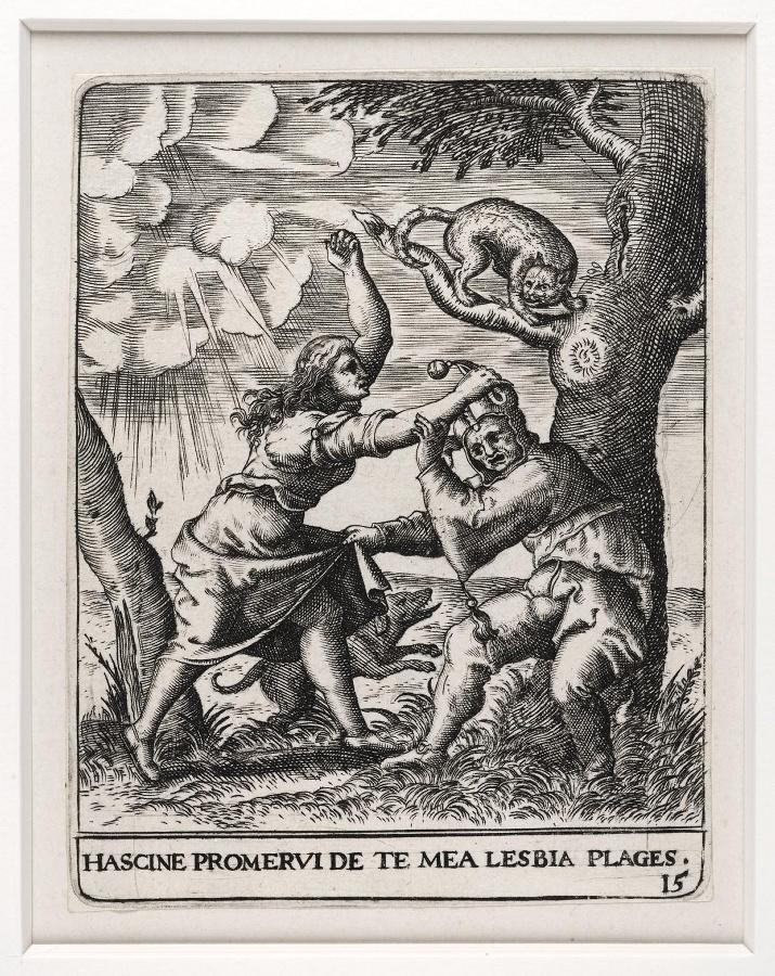 Emblemata saecularia (planche 15) ; HASCINE PROMERVI DE TE MEA LEASBIA PLAGES -_0