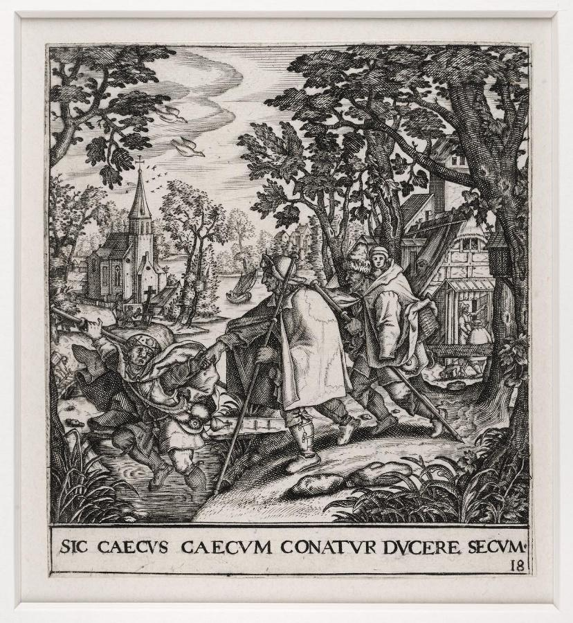 Emblemata saecularia (planche 18) ; SIC CAECUS CAECUM CONATUR DUCERE SECUM_0
