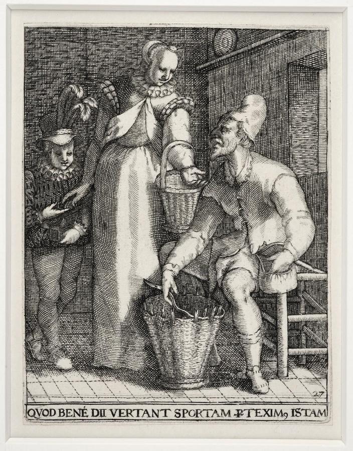 Emblemata saecularia (planche 27) ; QUOD BENE DII VERTANT SPORTAM TEXIM ISTAM