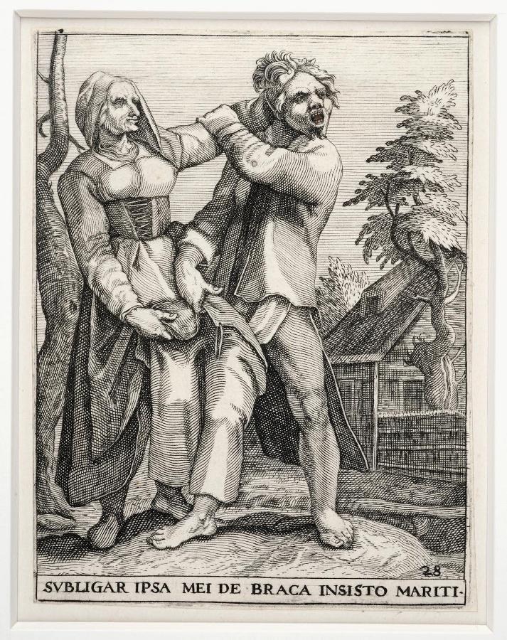 Emblemata saecularia (planche 28) ; SUBLIGAR IPSA MEI DE BRACA INSISTO MARITI_0