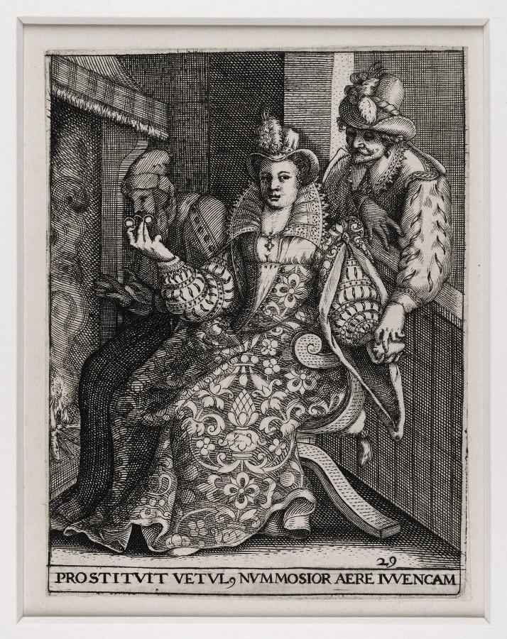 Emblemata saecularia (planche 29) ; PROSTITUT VETUL NUMMOSIOR AERE IUVENCAM