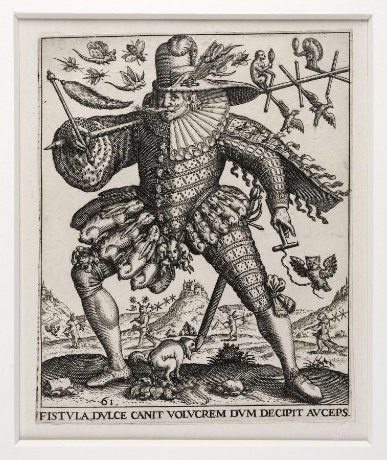 Emblemata saecularia (planche 61) ; FISTULA DULCE CANIT VOLUCREM DUM DECIPIT AUCEPS