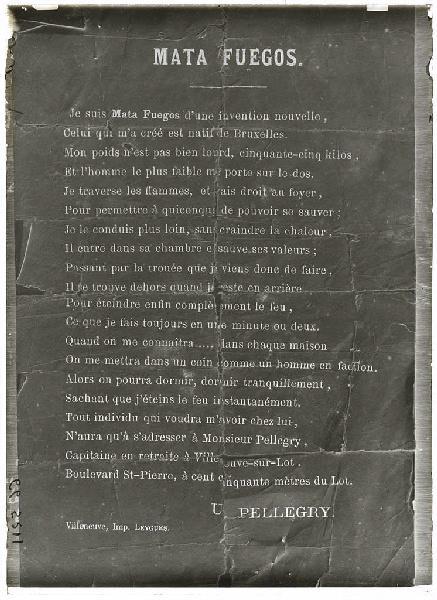 Poésie de Pellegry: 'Mata Fuegos' (Titre attribué)_0