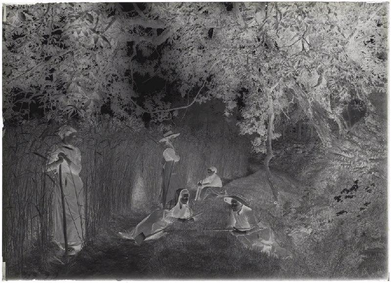 ARNAUDIN Félix (photographe) : Sarcleuses, champ Grué, Sarcleuses - Grué (Lüe) (Titre attribué)