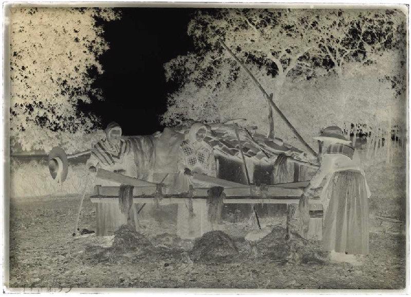 ARNAUDIN Félix (photographe) : Bargayres, scène de teillage - Janoutrac (Commensacq) (Titre attribué)