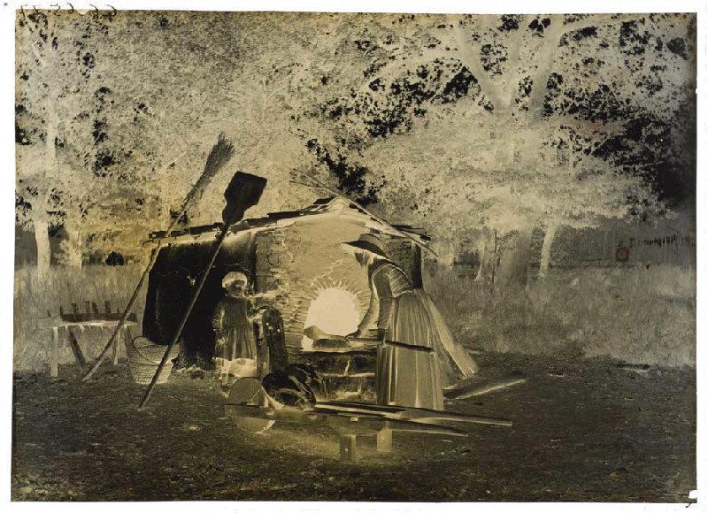Commensacq, four, Capbat ; Femme devant un four à pain (titre attribué)_0