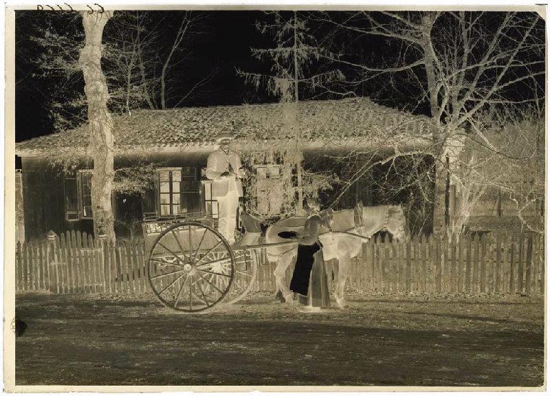 La tournée du poissonnier devant la maison de Félix Arnaudin ; Marchand sur une voiture attelée_0