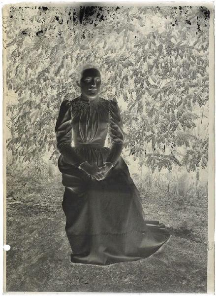 Femme assise devant un acacia_0