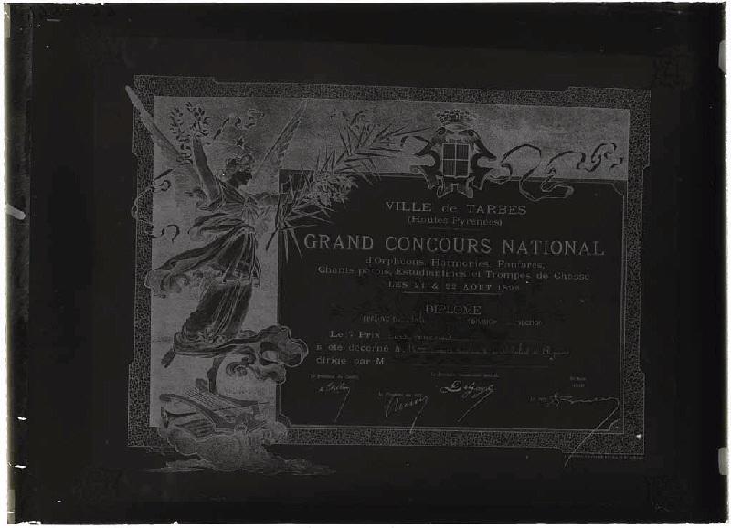 ARNAUDIN Félix (photographe) : Reproduction du diplôme de M. Dumas