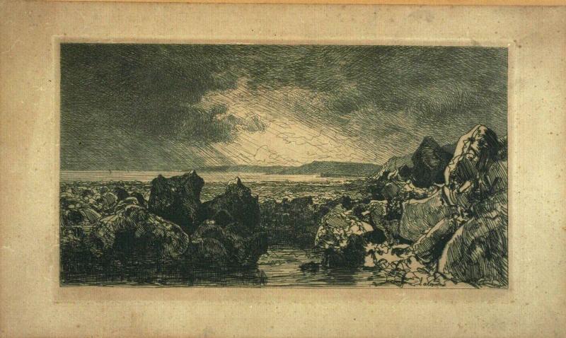 Les roches noires à Trouville. Marée basse