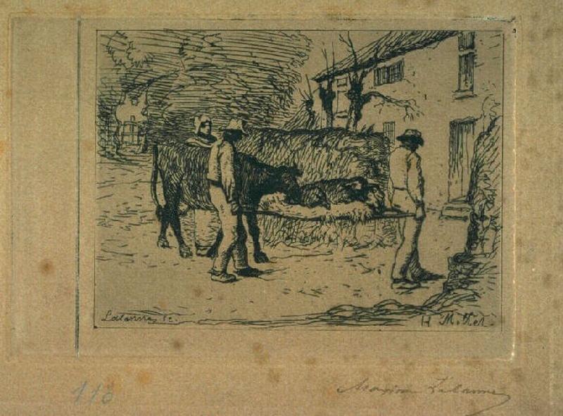Paysans rapportant à leur habitation un jeune veau né dans les champs