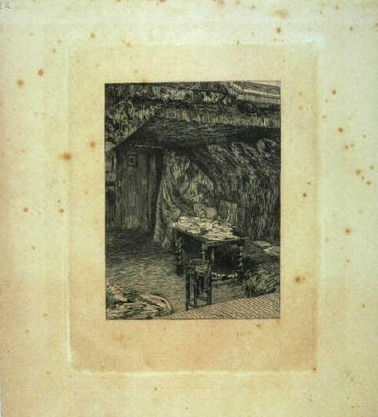 Le Look-out. Cabinet de Victor Hugo ; Intérieur, table de travail dans un décor théâtral (ancien titre)