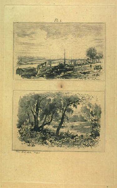 Gravure au vernis mou ; Pont Solférino à Paris (sous-titre) ; Bord de rivière (sous-titre)_0