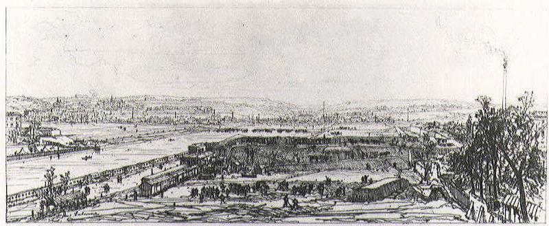 Vue prise du Viaduc du Point-du-jour ; Fortifications près d'une ville (ancien titre)_0