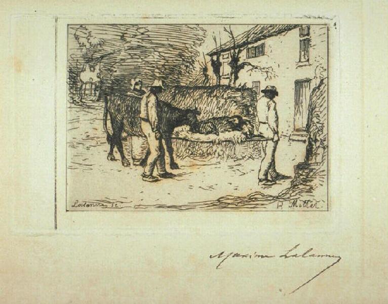 Paysans rapportant à leur habitation un jeune veau né dans les champs_0
