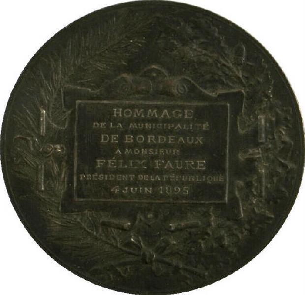 Hommage de la municipalité de Bordeaux à Mr Félix Faure, Président de la République, 4 juin 1895
