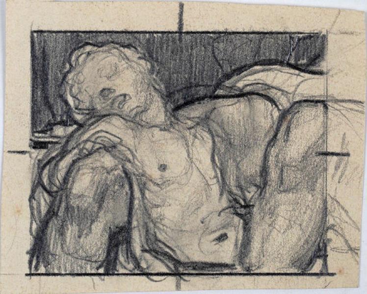 Enfant endormi entre les genoux d'un homme (étude)