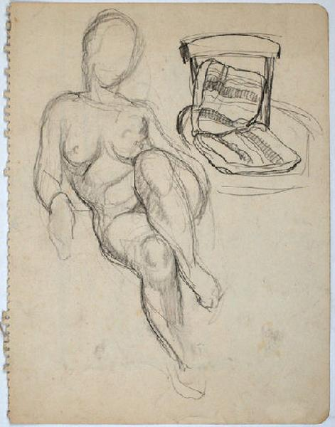 Etudes de femme nue et de fauteuil_0