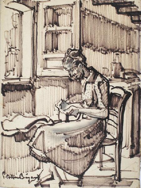 Françoise cousant devant la fenêtre_0