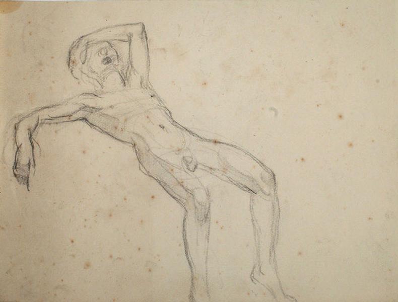 Etude d'un nu masculin renversé sur le dos_0