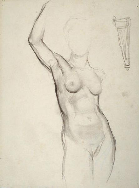 Etude d'un nu féminin debout le bras levé