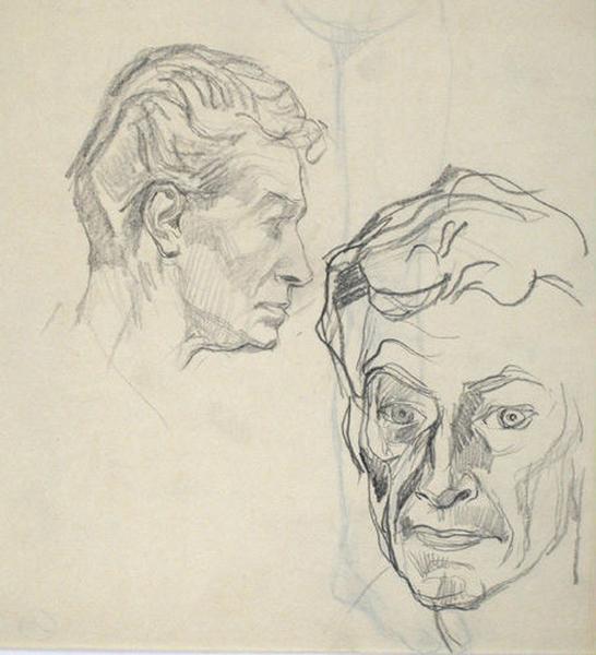 Autoportrait dessiné de face et de profil_0