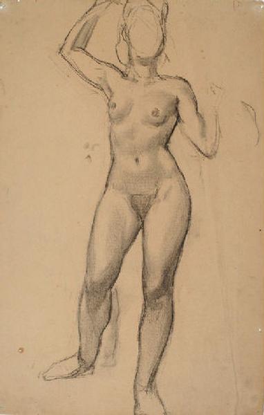 Etude d'un nu féminin debout le bras levé_0