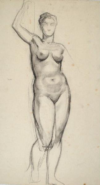 Etude de nu féminin debout le bras levé_0