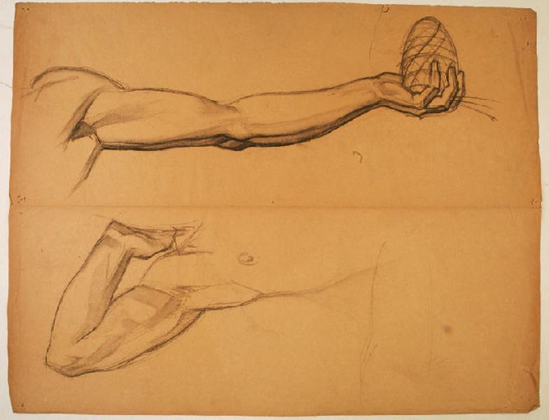 Etudes de bras pour le personnage central de la fresque du Pin des Landes