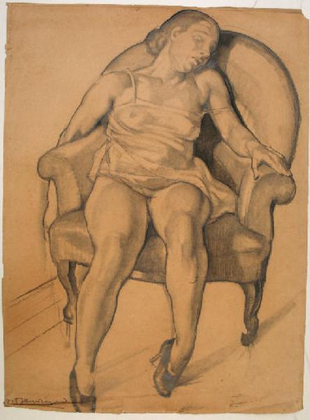 Femme assise dans un fauteuil