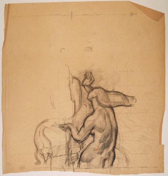 Etude de nu féminin au pied du personnage masculin central dans la fresque du Pin des Landes