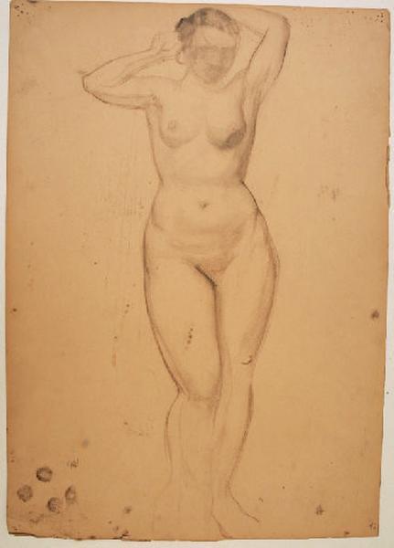 Etude de nu féminin pour le personnage central de la fresque du Pin des Landes_0