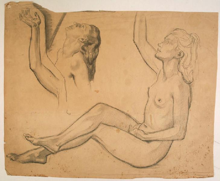 Etudes de nu féminin pour l'un des personnages des Hespérides