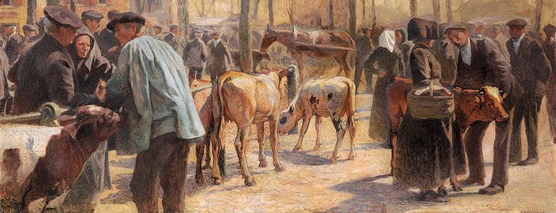 Marché aux bestiaux, place de Verdun à Pau