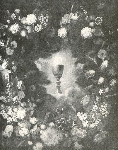 PEREZ Bartolomé (attribué à) : Symbole eucharistique ceint de fleurs et de fruits