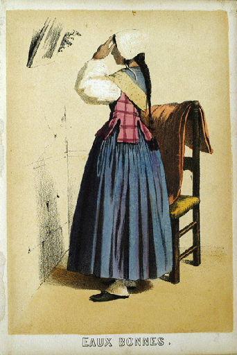 Eaux-Bonnes, femme se coiffant (titre factice)