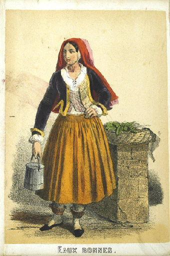 Eaux-Bonnes, femme portant un pot (titre factice)_0
