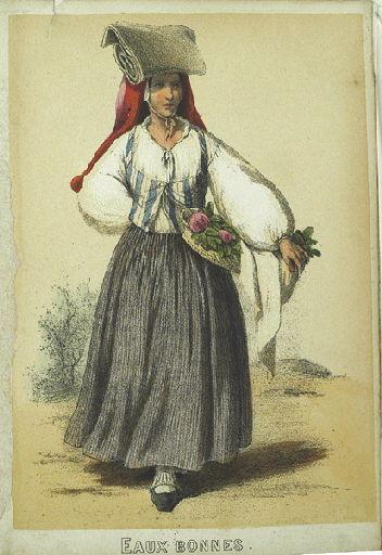 Eaux-Bonnes, femme avec un panier de fleurs (titre factice)_0
